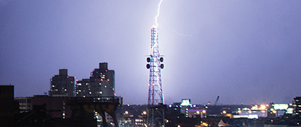 Lightning striking a tower