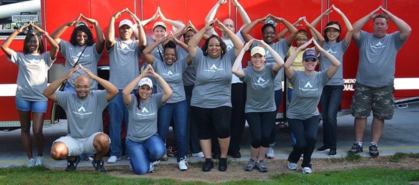 Employees displaying their spirit at a volunteer day