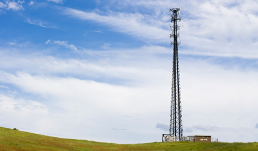 Wireless tower situated in a rural environment
